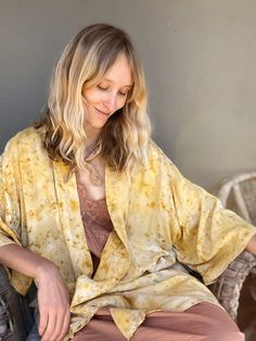 Botanical Robe - Rosemary over dyed with Creosote, Marigold, and Red Tea Rose — FLOWERS IN YOUR HAND