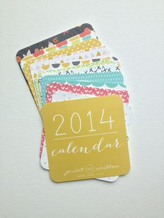 2014 Calendar - Wall or Desktop Calendar - 12 Month - Patterns - Shapes Illustrated Calendar on Etsy