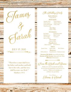 Wedding Programs With Gold Foil Text Printable DIY by anas129
