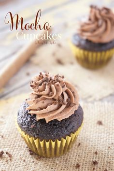 These Mocha Cupcakes are rich and chocolaty with a hint of coffee thanks to the Whipped Mocha Frosting they're topped with. Coffee Cupcakes, Mocha Cupcakes, Sweet Cupcakes, Yummy Cupcakes, Mini Cakes, Cupcake Cakes, Bundt Cakes, Cupcake Recipes, Dessert Recipes