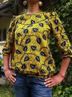 Ma Blonde en wax par La Waxeuse - thread&needles Plus African Blouses, African Tops, African Women, African Print Dresses, African Fashion Dresses, African Dress, African Prints, Ankara Fashion, African Inspired Fashion