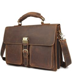 A classic lock and key leather briefcase that makes for a terrific business companion. Durable, sturdy and resiliently structured to support all of your work. Laptop Briefcase, Leather Briefcase, Briefcases, Types Of Bag, Classic Leather, Messenger Bag, Boss, Satchel, Handsome