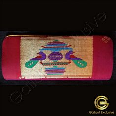 Design : Small clutch handbag with two peacock design on see-saw, plain back. Purses Online, Peacock Design, Silk Material, Canada, Usa, Dark, Color, Colour, U.s. States