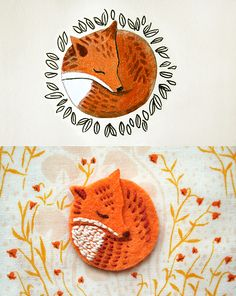 fox brooch! {by ink caravan}
