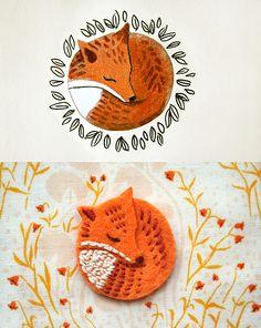 fox brooch! {by ink caravan}