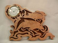 Dolphins Wall Clock Handcrafted in Wood