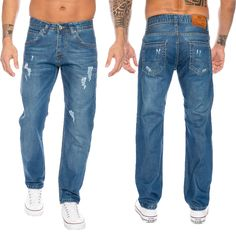 Rock Creek Herren Jeans Hose Denim Used Look Straight-Cut Jeans LL-318 NEU