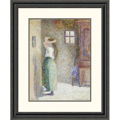 Global Gallery 'Country Girl at her Toilet' by Camille Pissarro Framed Painting Print Size: