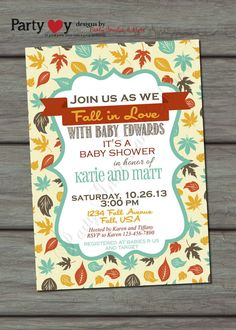 Fall Baby Shower Invitation Fall Leaves by PartyInvitesAndMore, $10.00