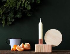DIY Wood and copper candleholder.