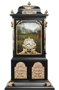 George Pyke A VERY FINE LARGE AND RARE EBONIZED ORMOLU MOUNTED PARCEL GILT EBONY AND EBONIZED ORGAN CLOCK WITH AUTOMATON CIRCA 1765