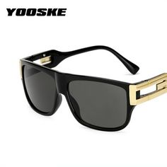 b0e5ea57dd1 YOOSKE Retro Square Sunglasses Men Vintage Brand Designer Sun Glasses Male  Celebrity Hip-Hop Glasses
