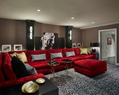 Adorable Movie Inspired Home Decor Ideas That Will Blow Your Mind Red Couch Living Room, Red Living Room Decor, Burgundy Living Room, Living Room Themes, Black And White Living Room, Red Home Decor, Living Room Sectional, New Living Room, Living Room Interior