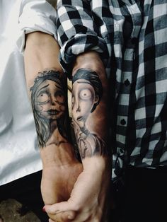 Cute couple tattoo, reference from corpse bride