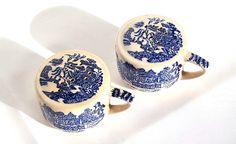 Blue Willow Salz & Pfeffer Jahrgang blau von Donellensvintage