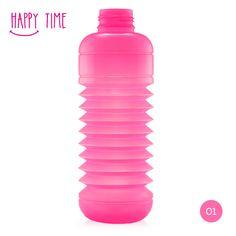 Happy Time · Semitransparente  |  #Botella #plegable #Squeasy de polipropileno sin bisfenol A (BPA)  /  100% #reciclable.  /  Capacidad de 0.3 a 0.7 litros.  /  Apta para uso alimentario.  /  Apta para lavavajillas. Suave aroma  a vainilla (para evitar el olor a plástico, no afecta al contenido de la botella)  /  #Diseño Suizo.