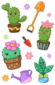 Discover thousands of Premium vectors available in AI and EPS formats Doodles Kawaii, Cute Kawaii Drawings, Cactus Drawing, Cactus Art, Cactus Flower, Cactus Plants, Cactus Cartoon, Cute Cartoon, Printable Stickers