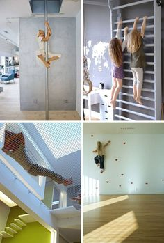 What a great set of ideas for making your home more kid-friendly! A rock wall, fire pole, climbing bars, and crash net will be sure to keep kids active.