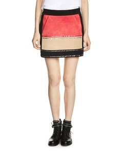 Maje Jastrid Embellished Suede Skirt   Cow leather; lining: cotton   Professional leather clean   Made in India   Fits true to size, order your normal size   Designed for a slim fit   Banded waist, co