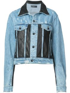 Blue cotton faux leather panelled denim jacket from Amiri featuring a collar style, two chest patch pockets, leather panels and a front button fastening. Painted Jeans, Hand Painted, Mode Jeans, Patchwork Jeans, Collar Styles, Ripped Skinny Jeans, Distressed Denim, Shirt Sleeves, Size Clothing