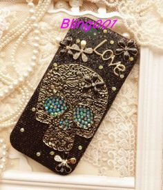 Black Sparkle iPhone 5 case Bling HTC one Case cute by Bling001, $19.89