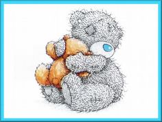 Tatty Teddy - with Love Tatty Teddy, Cute Images, Cute Pictures, Calin Gif, Teddy Bear Quotes, Image Svg, Teddy Bear Pictures, Blue Nose Friends, Bear Illustration