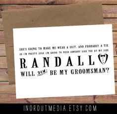 Will You Be My Groomsman - Personalized with name, suit and tie, typography, best man, groom, 5x7 folded card