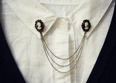 cameo collar pins, collar chain, collar brooch, lapel pin, cameo pin, cameo brooch