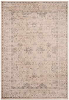 VTG430C Rug from Vintage collection.  Flowers and vines are gracefully scattered across the tone-on-tone cream Leyla rug from the Vintage collection by Safavieh.  Power loomed of organic viscos
