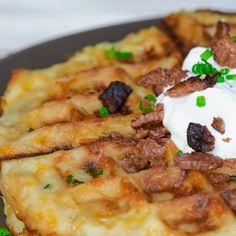 Cheesy Mashed Potato Waffles