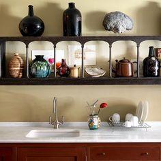 Kitchen sink and antique shelf