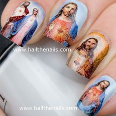 Jesus & Mary Nail Art Water Transfer Decal Full by Hailthenails, £2.49