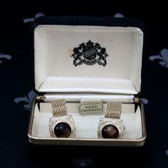 STRAND Vintage Gents Gold Mesh Wraparound Cufflinks Brown Stones Original Box