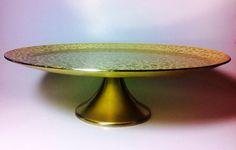 Vintage Kensington Ware-Moire Pedestal Cake Serving Plate  on Etsy, $14.75