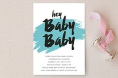 Hey Baby Baby Baby Shower Invitations