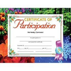 Printer-Compatible Certificates & Awards, Certificate of Participation, HVA633