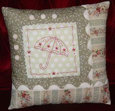 Spring Showers Redwork Cushion