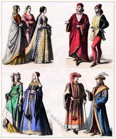 Burgundian fashion 1450, XV. century. Renaissance clothing. Cotehardie, Kirtle, Doublet, Houppelande, Chemise, Smock, Bodice