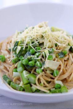 Lemon Basil Whole Wheat Spaghetti with Spring Veggies