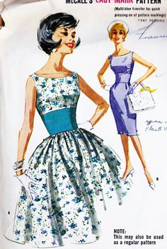 "1960s Misses Party Dress With Slim or Full Skirt Vintage Sewing Pattern, Cocktail Dress, McCall's 6311 Bust 34"". $12.00, via Etsy."