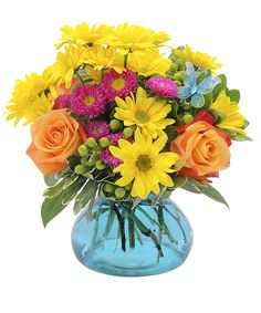Flutter-A bright, cheerful combination of daisies, roses and berries, accented with a butterfly. #Fiesta #SanAntonioFiesta #TheFlowerBucket #SanAntonioFlowers