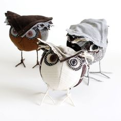 Owls Fabric Sculptures by Tracey Cameron