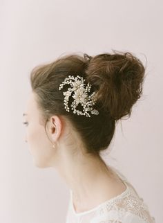 Bridal crystal hair comb headpiece  Flower crystal and by myrakim, $135.00