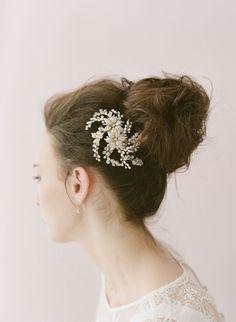 Bridal crystal hair comb headpiece Flower crystal and by myrakim, $135.00