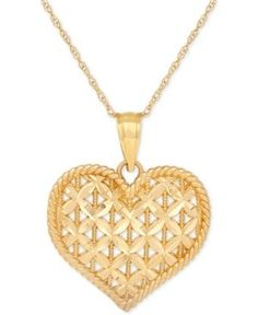 Openwork Puff Heart Pendant Necklace in 10k Gold - Gold