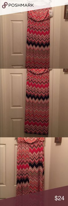 Chevron Trixxi brand maxi dress Very beautiful chevron dress that has never been worn still has price tag attached. Size XL. It fits me but I think the color is all wrong for me. Trixxi Dresses Maxi