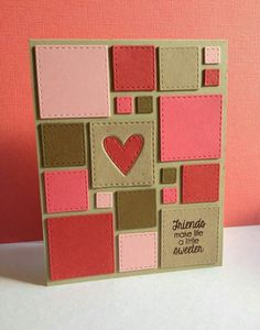 Stitched Squares wafer dies from Simon Says Stamp. Paper Cards, Diy Cards, Tarjetas Diy, Card Making Inspiration, Card Sketches, Love Cards, Valentine Day Cards, Creative Cards, Unique Cards