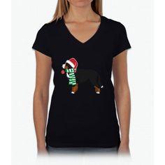 Bernese Mountain Dog Christmas Dog T-Shirt Xmas T-shirt Womens V-Neck T-Shirt