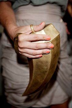 pip edwards' gold horn clutch.