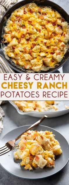 Cheesy Ranch PotatoesCheesy Ranch Potatoes are a mouthwatering potato side dish to spice up your dinner routine! These easy to make potatoes are creamy, cheesy, and ready fast! Fast Dinner Recipes, Fast Dinners, Easy Meals, Fast Easy Dinner, Easy Dinners To Make, Potato Sides, Potato Side Dishes, Easy Vegetable Side Dishes, Simple Side Dishes
